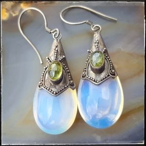 Antique Art Deco Opal Peridot .925 Silver earrings